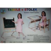 Dřevěná magnetická tabule a stolek 2v1 2