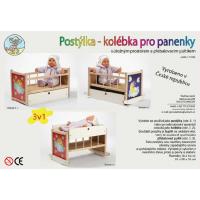 Jaroš Drevená postieľka Kolíska pre bábiky 4