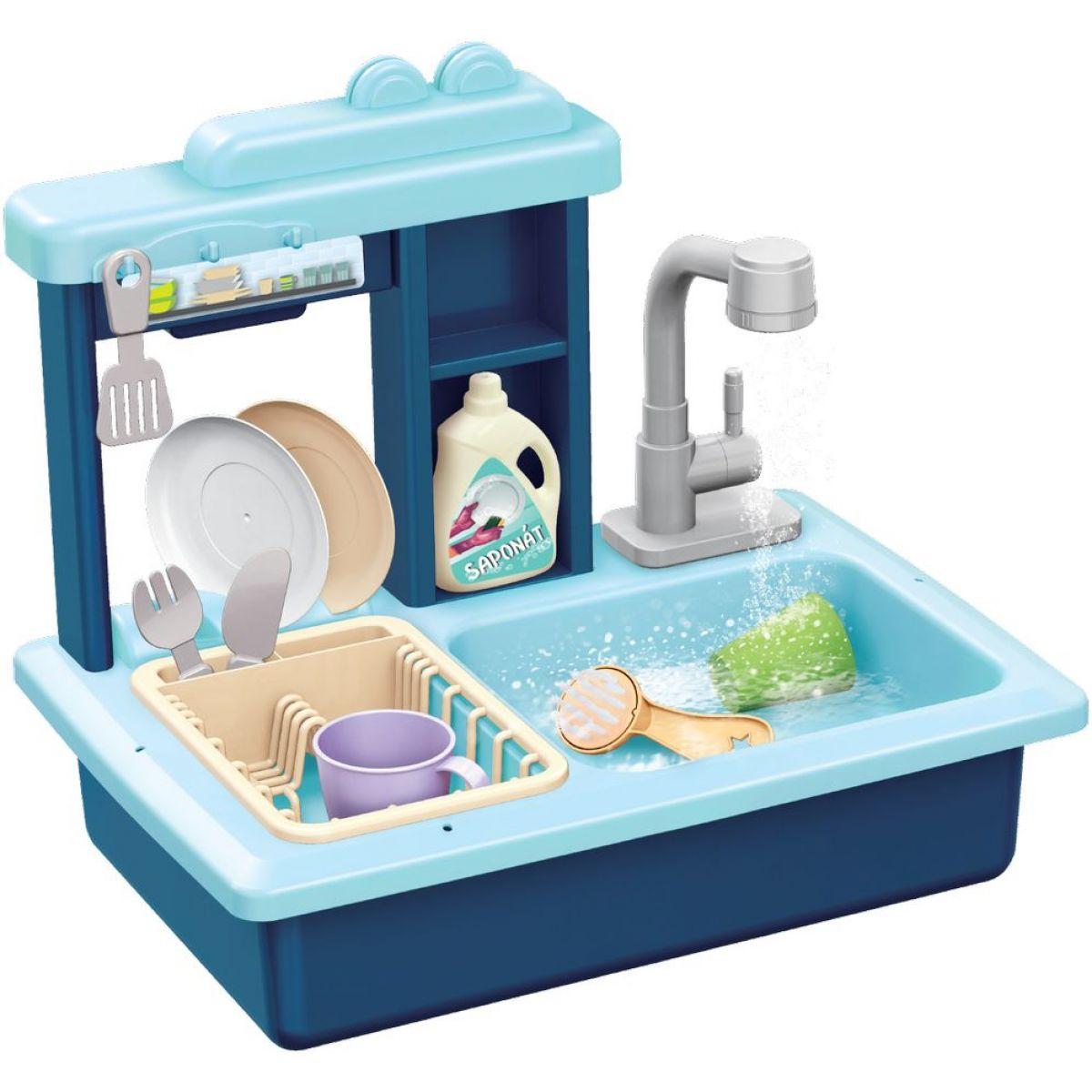 Drez na umývanie riadu modrý a kohútik na vodu na batérie