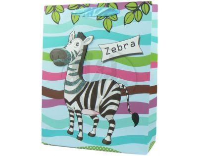 Dárková taška zvířátka lesk - Zebra