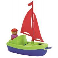 Ecoiffier Plachetnice 22,5 cm s námořníkem zelená