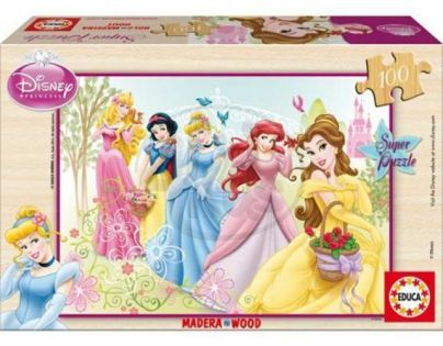 Educa Puzzle Dřevěné Disney princezny 100 dílků
