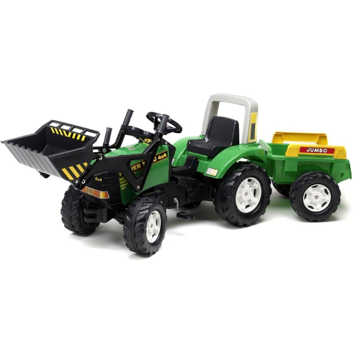 Falk Šlapací traktor zelený s přední lžící a vozíkem