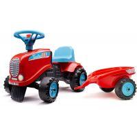 Falk Odstrkovadlo traktor Go Farm červené s volantem a valníkem