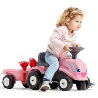 Falk Odstrkovadlo traktor Landini růžový s volantem a valníkem 3