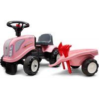 Falk Odstrkovadlo traktor Landini růžový s volantem a valníkem 2