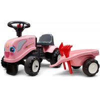 Falk Odstrkovadlo traktor Landini růžový s volantem a valníkem
