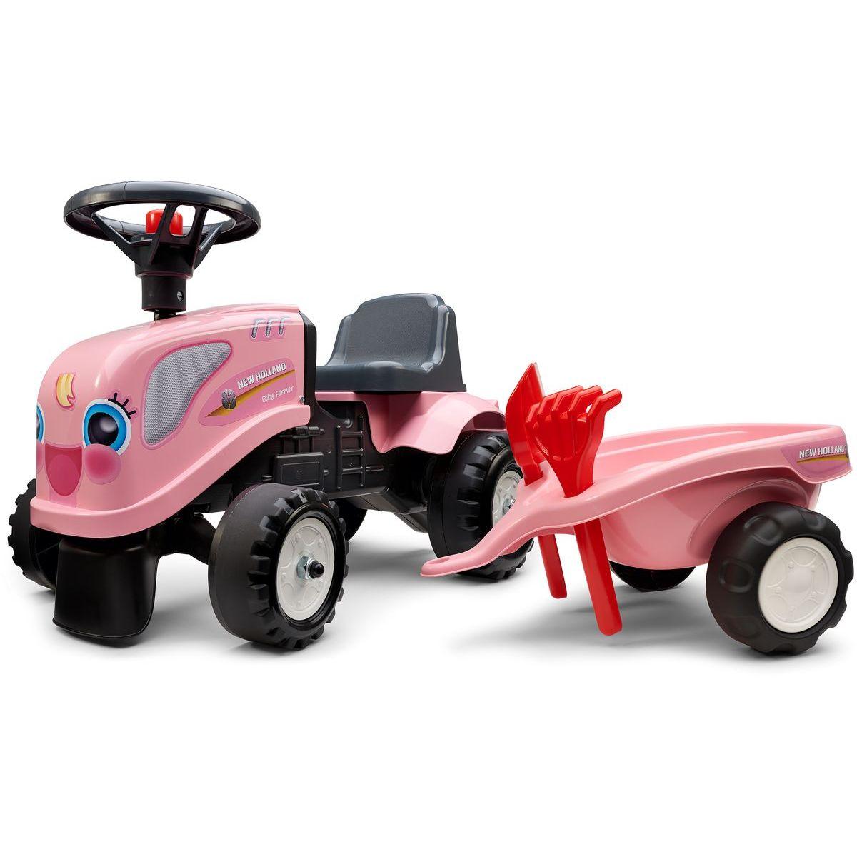 Falk Odstrkovadlo traktor Landini ružový s volantom a prívesom