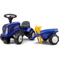 Falk Odstrkovadlo traktor New Holland modré s volantem a valníkem