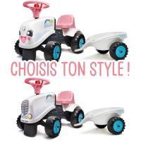 Falk Odstrkovadlo traktor Rainbow bílo růžový s volantem a vlečkou 3