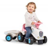 Falk Odstrkovadlo traktor Rainbow bílo růžový s volantem a vlečkou 4