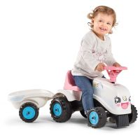 Falk Odstrkovadlo traktor Rainbow bílo růžový s volantem a vlečkou 5
