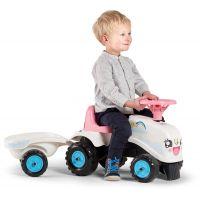 Falk Odstrkovadlo traktor Rainbow bílo růžový s volantem a vlečkou 6