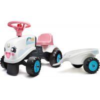 Falk Odstrkovadlo traktor Rainbow bílo růžový s volantem a vlečkou 2