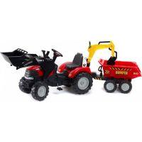 Falk Šlapací traktor Case IH Puma 240CVX s přední i zadní lížící a přívěs