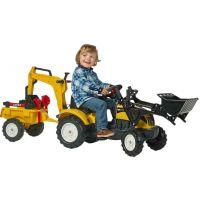 Falk Šlapací traktor Ranch Track žlutý s přední i zadní lžící a valníkem 2