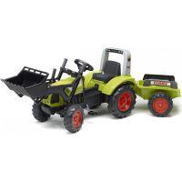 Falk Traktor Claas Arion 430 zelený s přední lžící a přívěsem