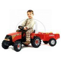 Falk Traktor Power Trac 4x4 červený + přívěs CARGO