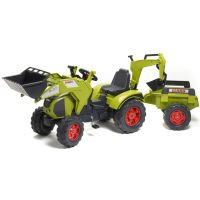 Falk Traktor šlapací Claas Axos 330 s přední lžící i zadní lžíčí