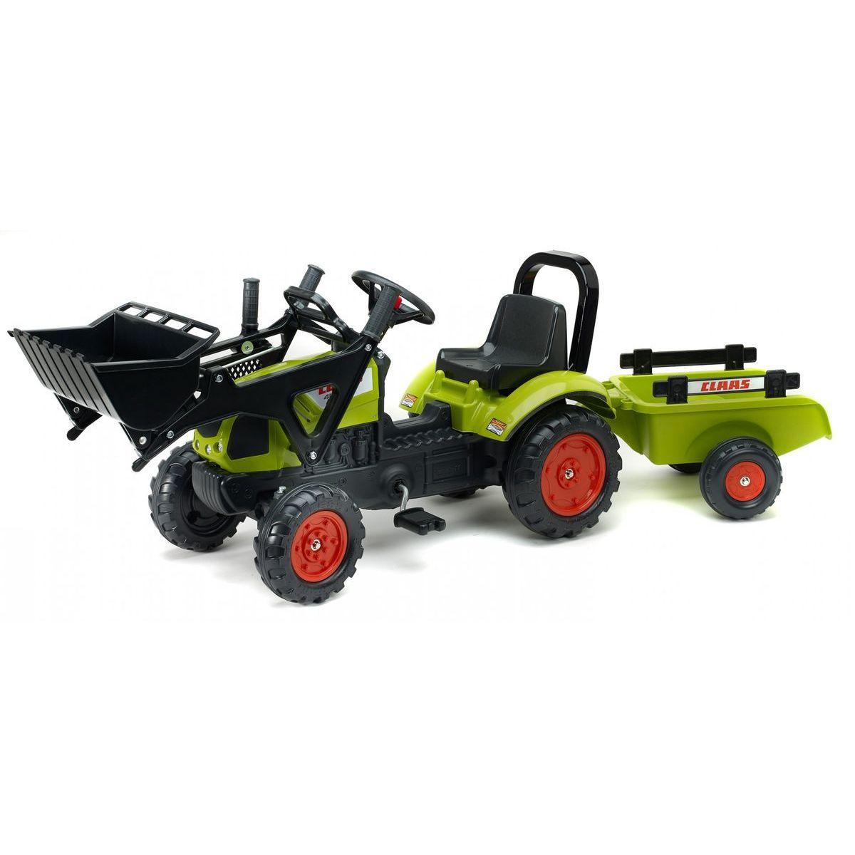 Falk Traktor zelený Claas Arion 410 s prívesom a prednou lyžicou