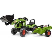 Falk Traktor zelený Claas Arion 410 s prívesom a prednou lyžicou 2