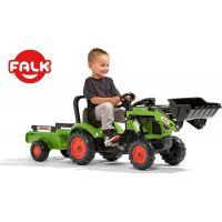 Falk Traktor zelený Claas Arion 410 s prívesom a prednou lyžicou 3