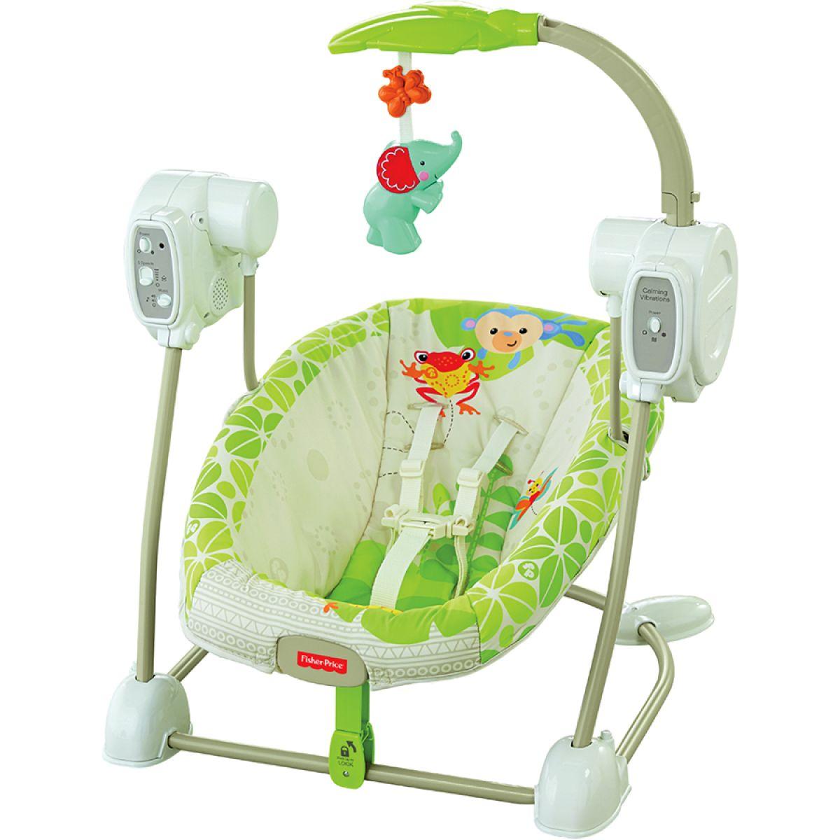 Fisher Price Baby Gear houpačka a sedátko v jednom rainforest (Fisher Price BGM57)