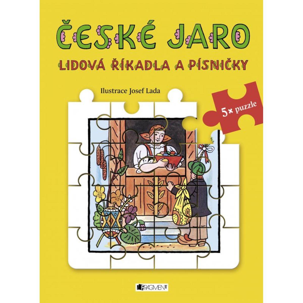 Fragment Lidová říkadla a písničky a puzzle České jaro Josef Lada