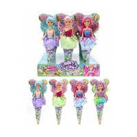 Funville Víla Sparkle Girlz květinová s křídly v kornoutu duhová sukně, fialové vlas,zelená křídla