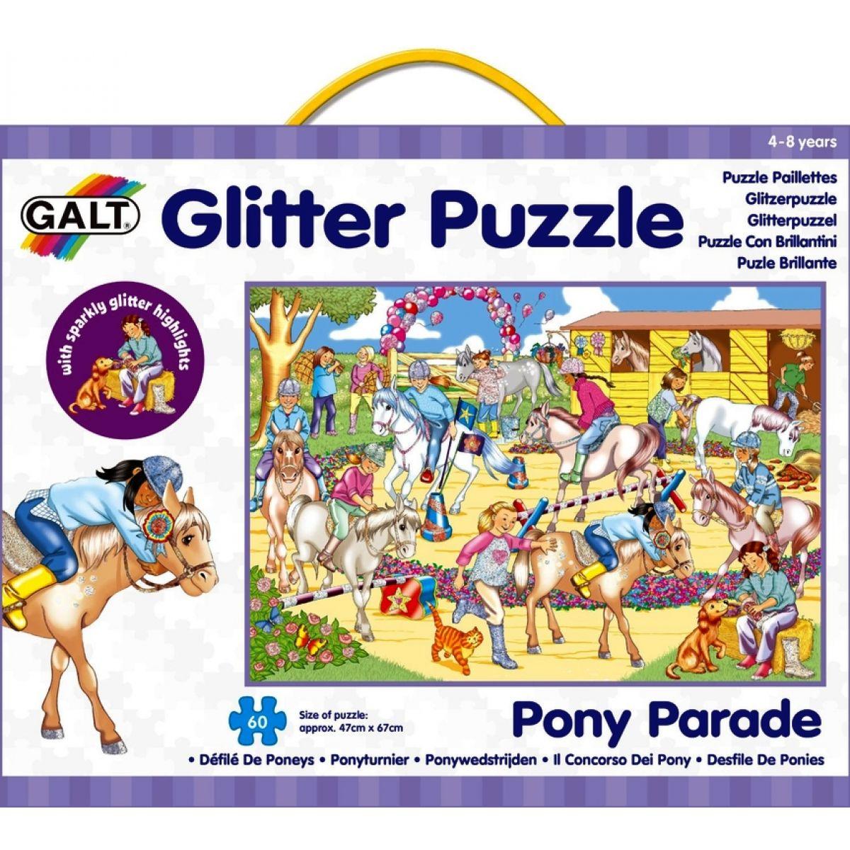Galt Puzzle třpytivé Přehlídka koní 60 dílků