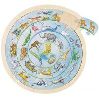 Goki Kulaté puzzle na desce zvířátka