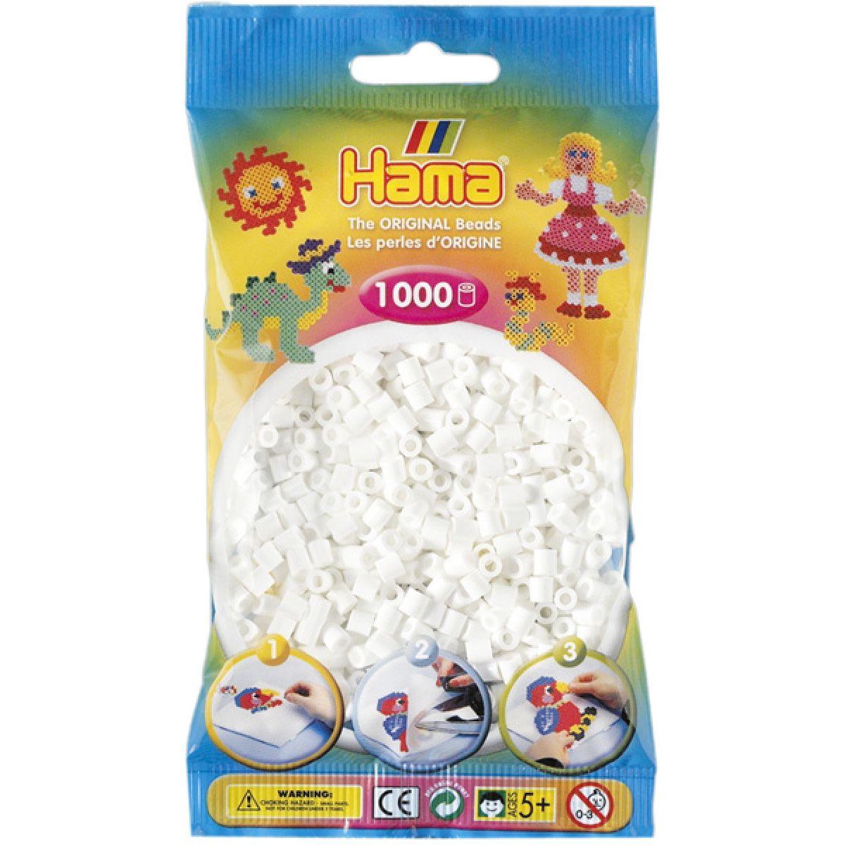 Hama H207-01 Zažehlovací korálky Midi bílé v sáčku 1000 ks