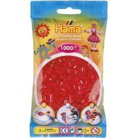 Hama H207-13 Průhledné červené korálky 1000 ks Midi
