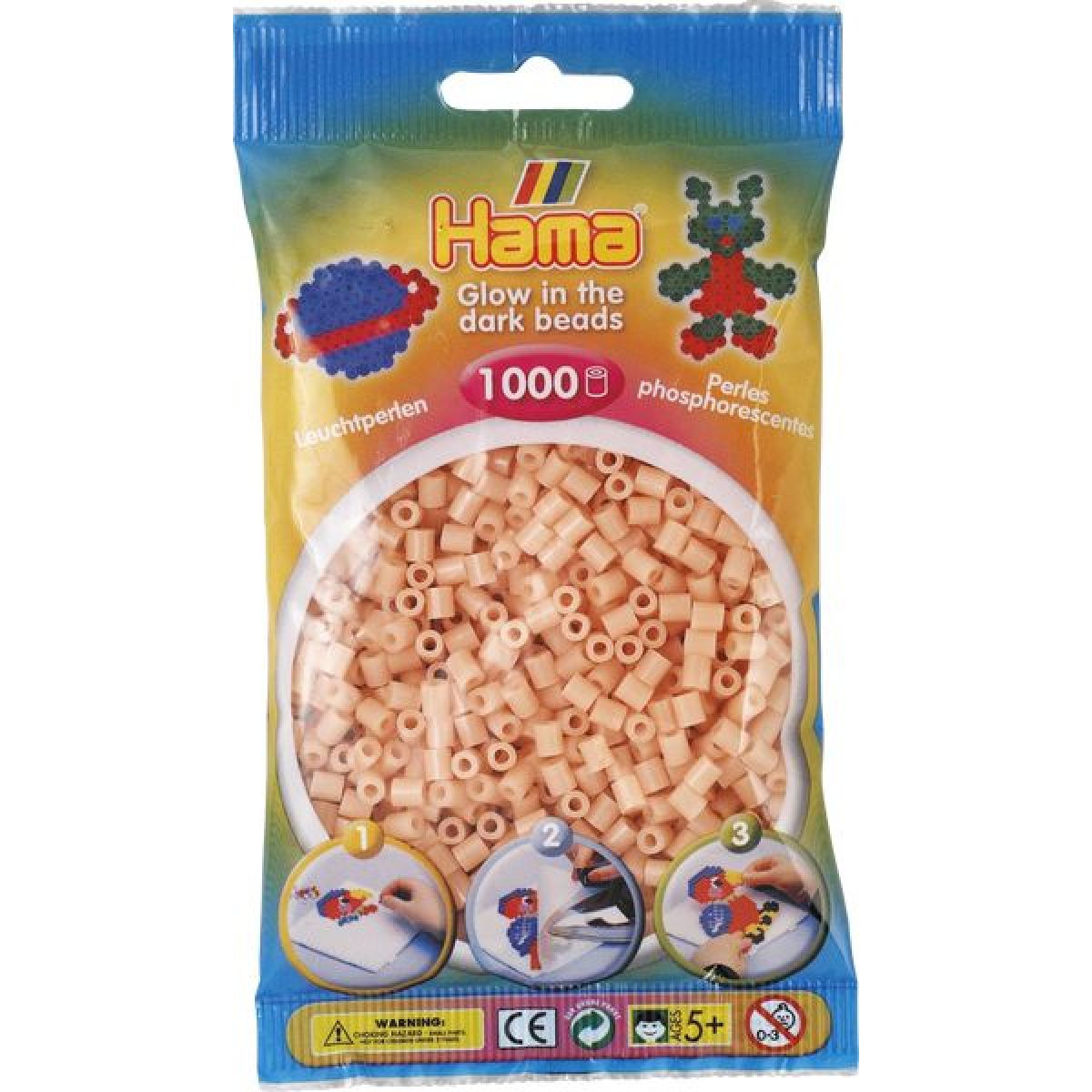 Hama H207-56 Zažehlovací korálky Midi svítící lososové 1000 ks HAMA