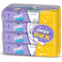 Happy vlhčené ubrousky Sensitive s aloe vera á 56 x 4 Mega Pack