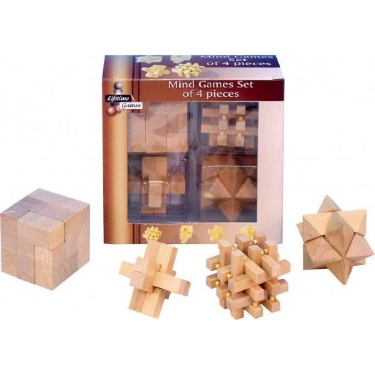 Hlavolam dřevěný 4ks v krabici