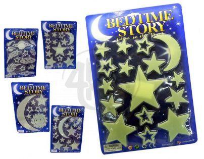 HM Studio Dekorace Fluorescenční hvězdná obloha - malý měsíc a hvězdy