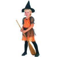 HM Studio Dětský kostým Čarodějka oranžová 92-104cm