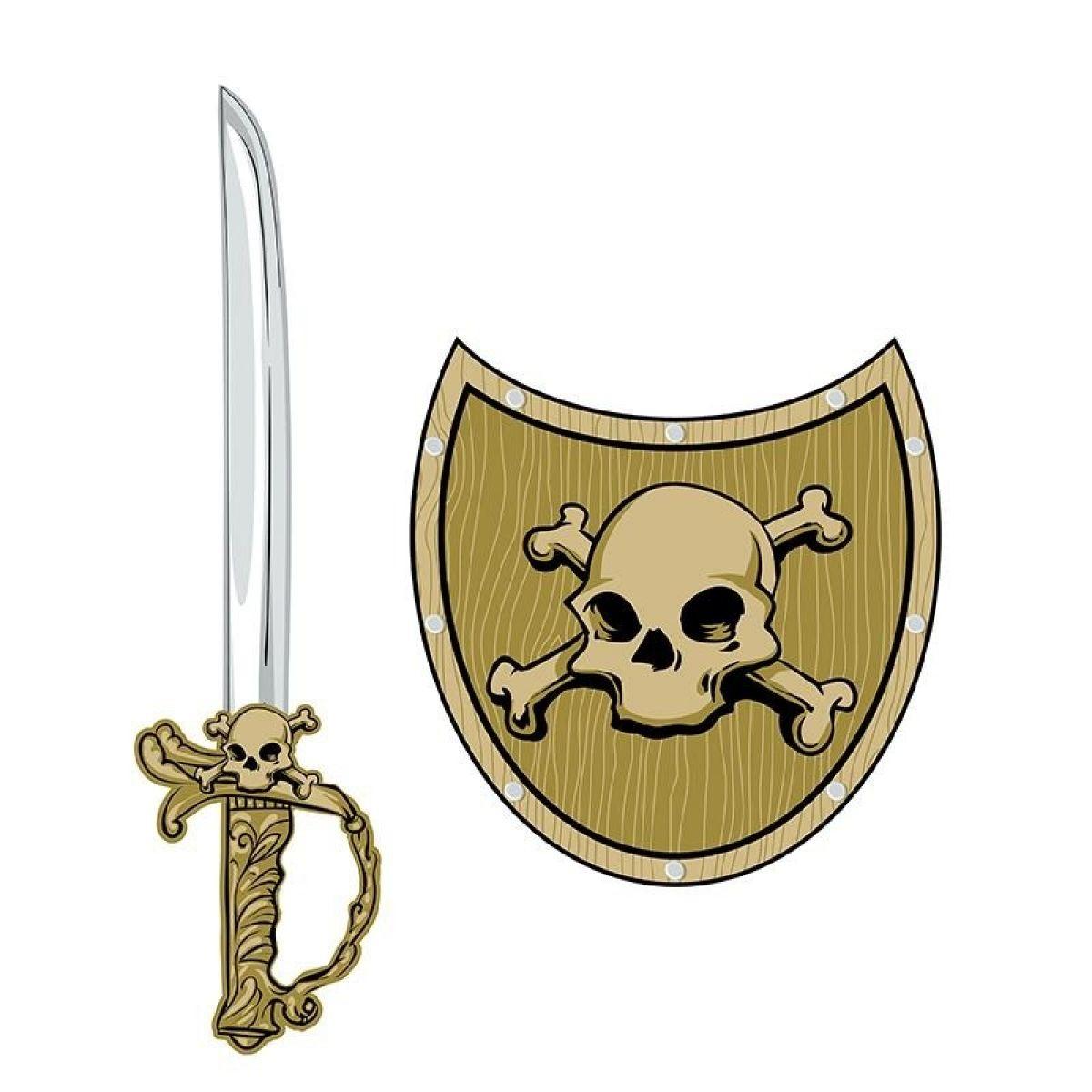 HM Studio Meč a štít Pirát lebka