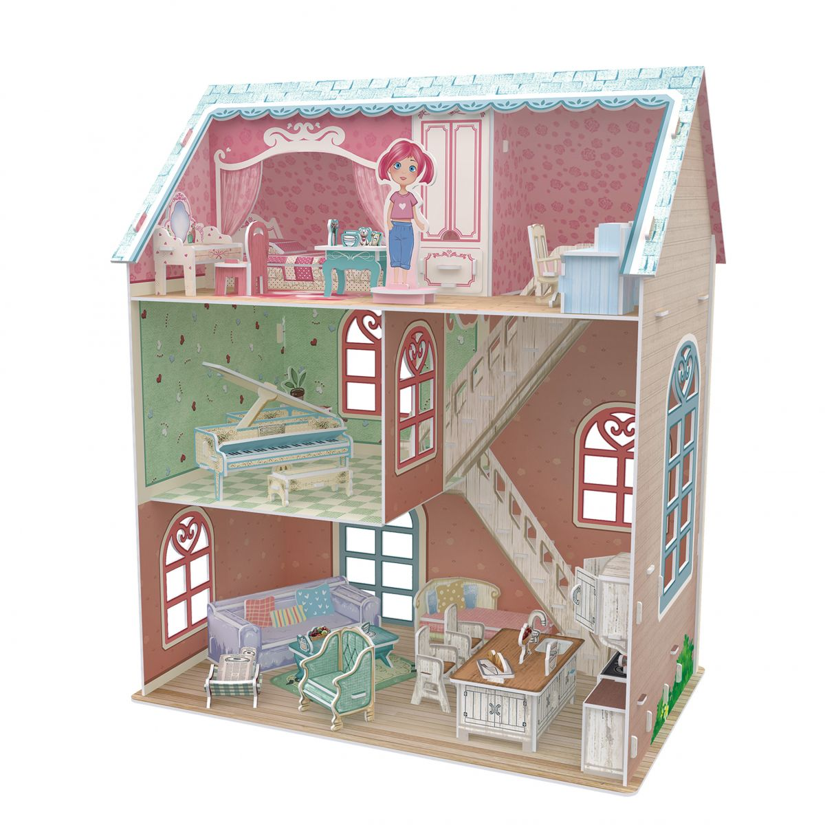 HM Studio Puzzle 3D Dollhouse Pianists Home 105 dílků