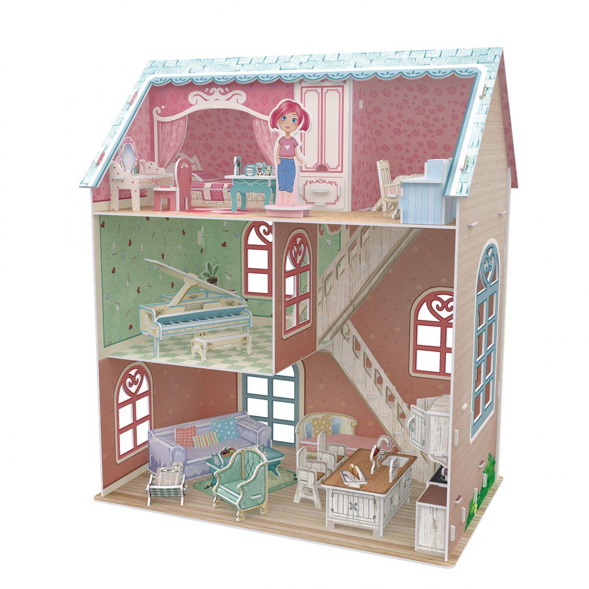 CubicFun 3D Puzzle Domeček pro panenky s piánem 105 dílků