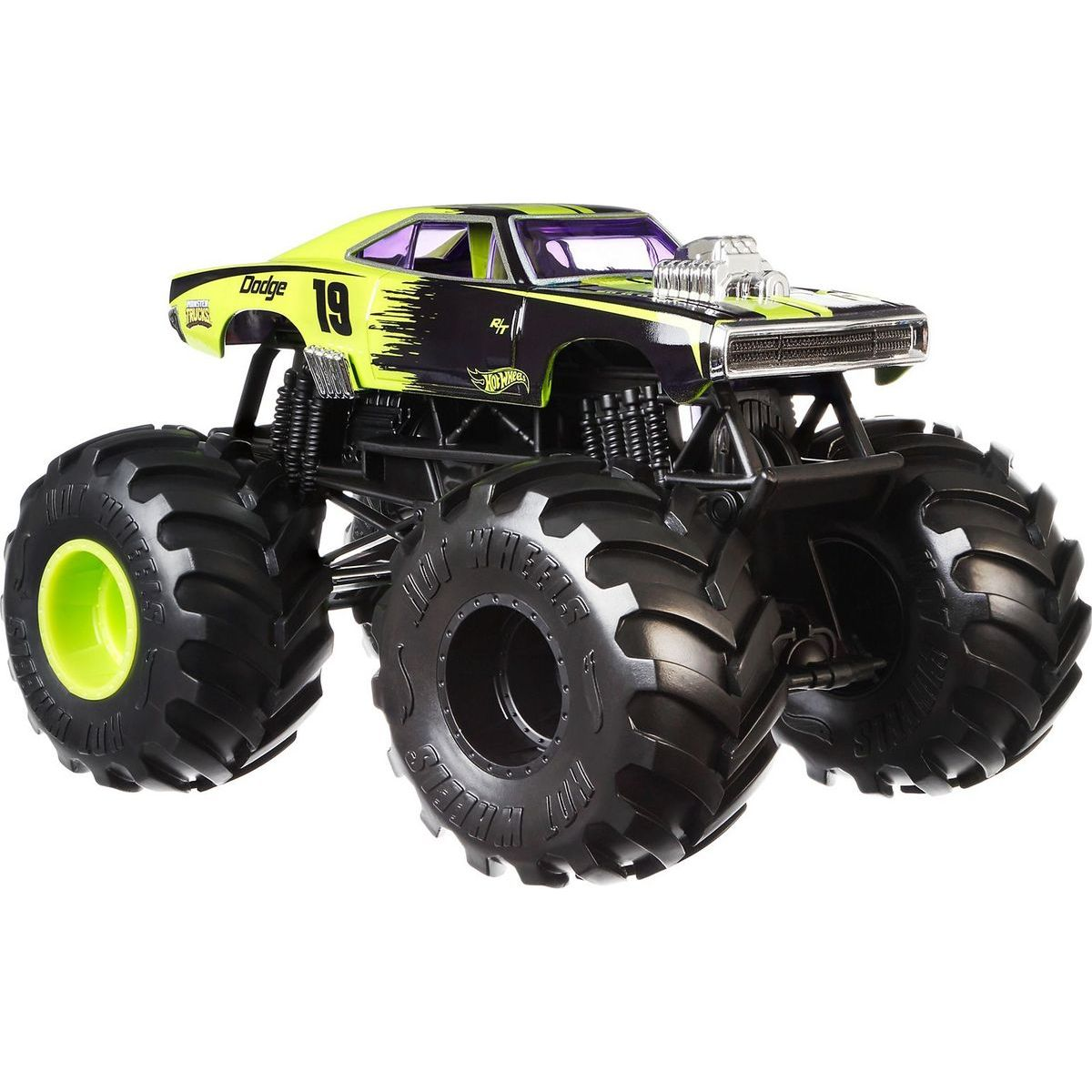 Hot Wheels Monster trucks kaskadérské kousky Dodge Charger RT černý