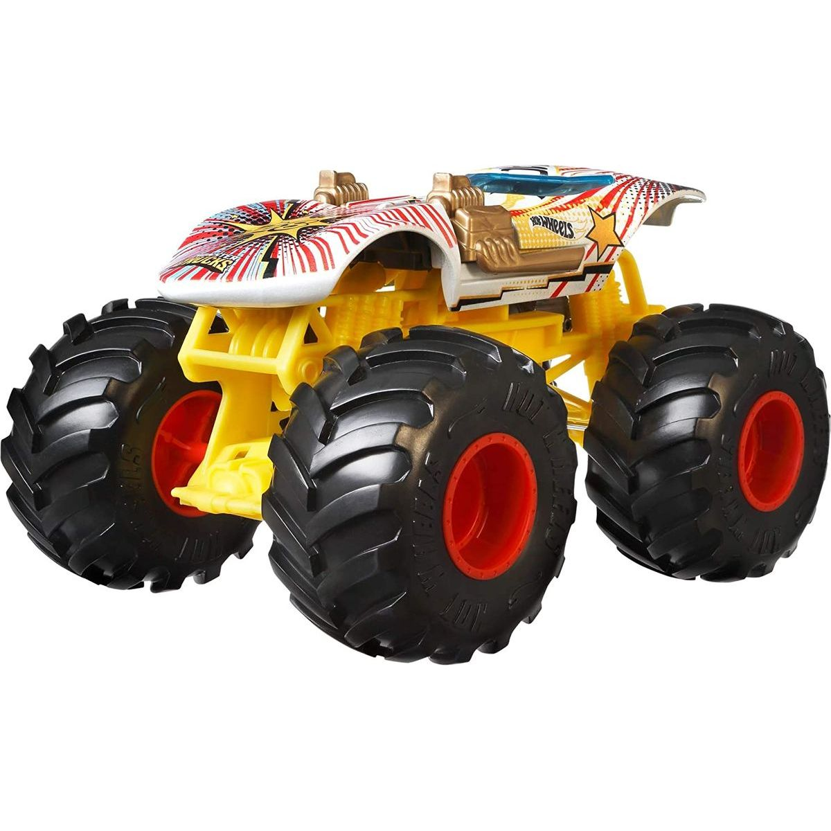 Hot Wheels Monster trucks velký truck Twin Mill bíložlutý