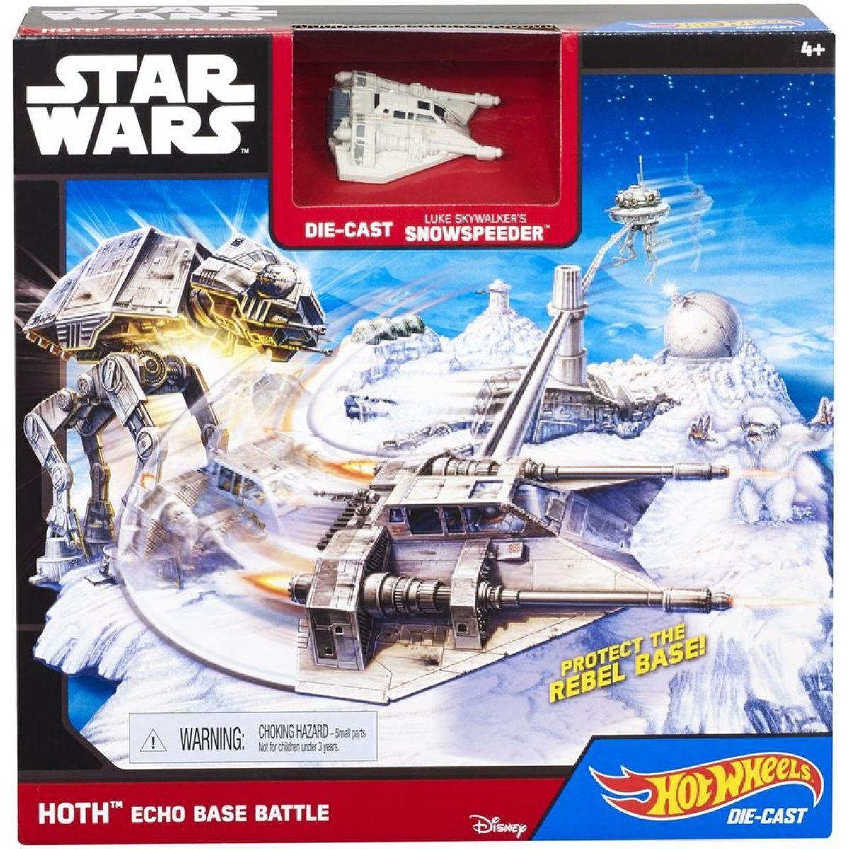Hot Wheels Star Wars Hrací set s hvězdnou lodí - Hoth Echo Base Battle
