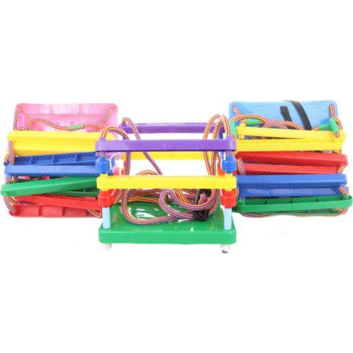 MikiFun Houpačka dětská plastová na zahradu - modrý sedák