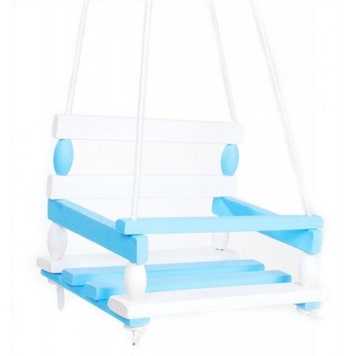 Houpačka dřevěná bílo modrá nosnost 80 kg