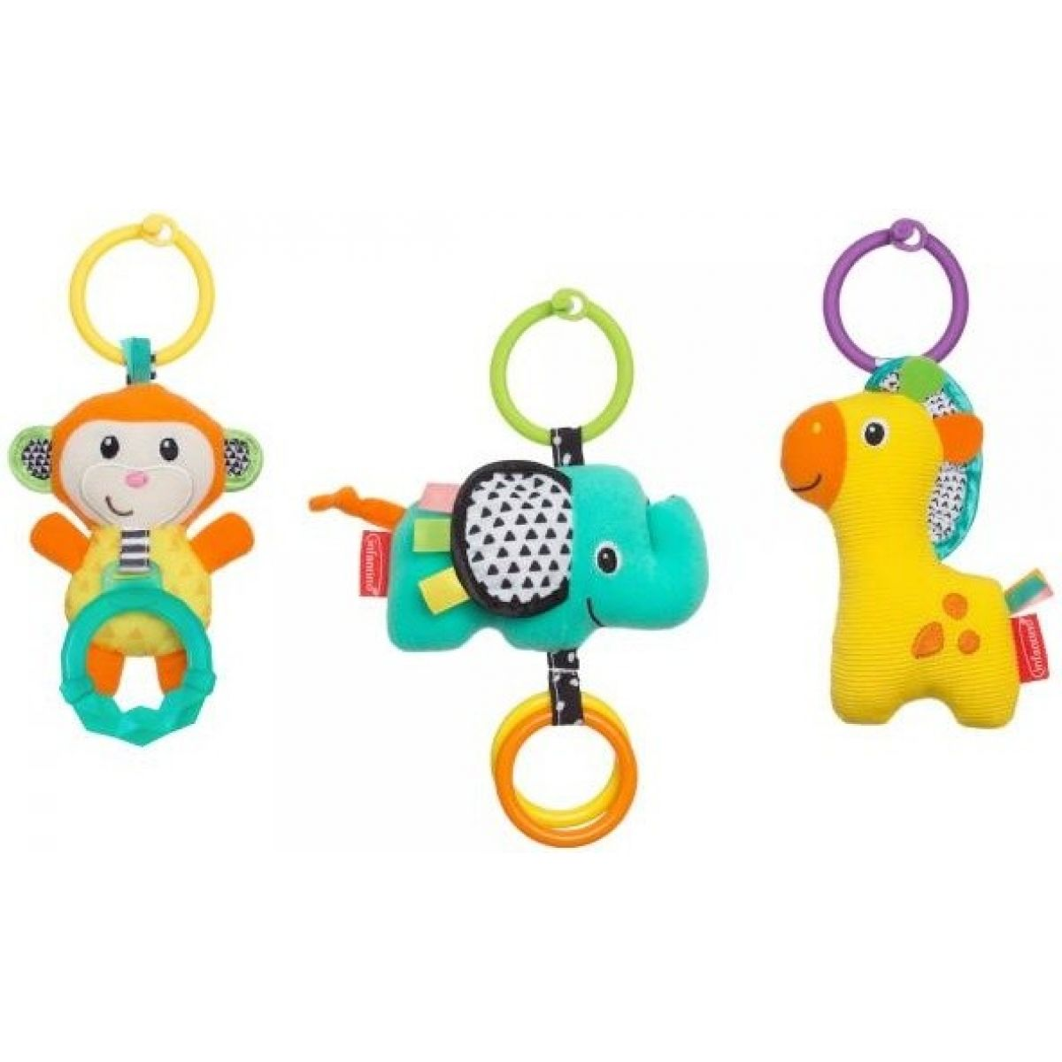 Infantino Závěsná zvířátka 3 ks Opice, slon, žirafa