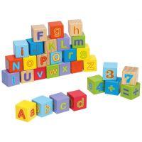 Jouéco Dřevěné kostky s písmeny a čísly 30 ks