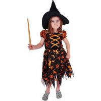 Rappa Karnevalový kostým Čarodějnice halloween s kloboukem vel. S
