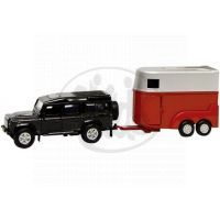 Kids Globe Land Rover Defender s přívěsem pro koně - Černé auto červený přívěs